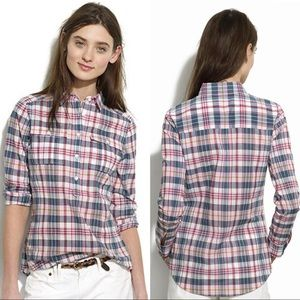 Madewell Plaid Popover Top